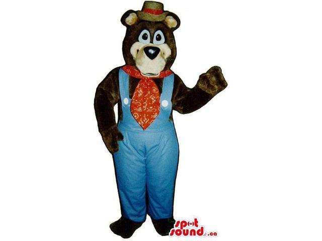 Bear Plush Canadian SpotSound Mascot Dressed In Blue Farmer Overalls And A Hat