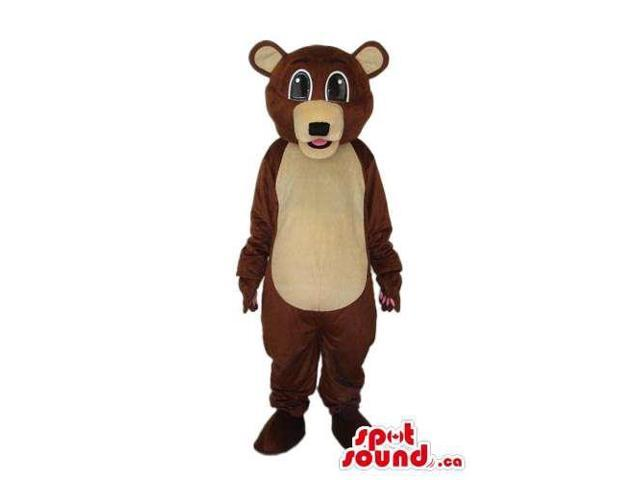 Cute Brown Teddy Bear Plush Canadian SpotSound Mascot With A Beige Belly