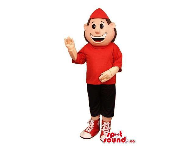 Happy Boy Plush Canadian SpotSound Mascot Dressed In A Red T-Shirt And Cap