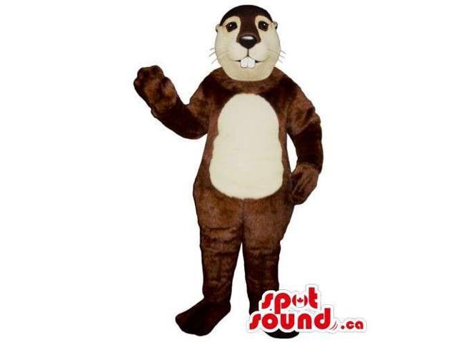 Customised Brown Chipmunk Canadian SpotSound Mascot With A Beige Belly And Face