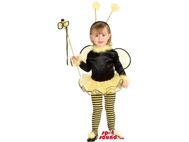 Bee Children Size Costume With Wings And Special Wand