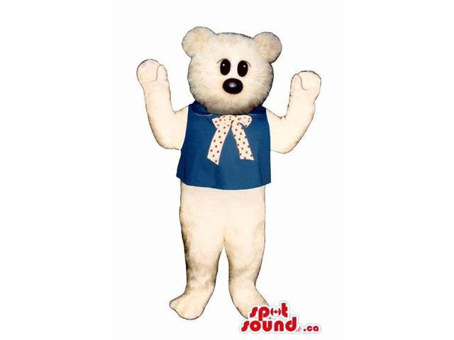 Customised White Teddy Bear Plush Canadian SpotSound Mascot Dressed In And Neck Bow