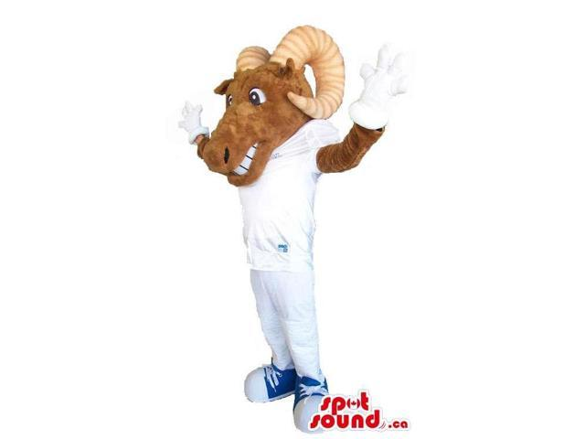 Brown Antelope Animal Canadian SpotSound Mascot Dressed In White Gear