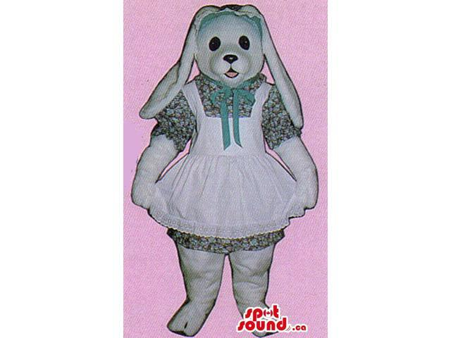 White Bunny Plush Canadian SpotSound Mascot Dressed In A Girl Flowery Dress