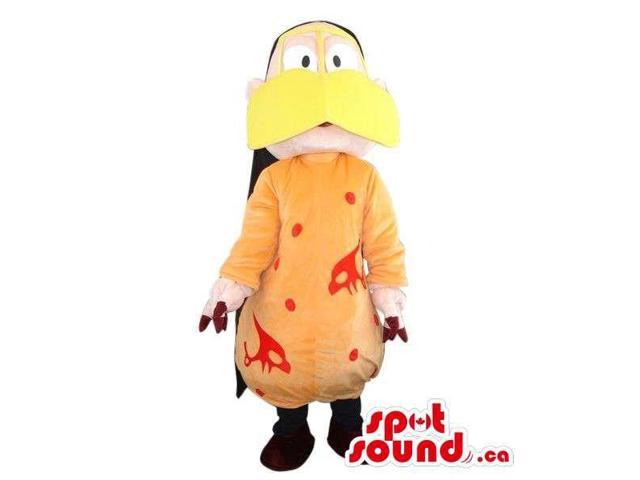 Peculiar Man Plush Canadian SpotSound Mascot Dressed In A Duck Disguise In Orange