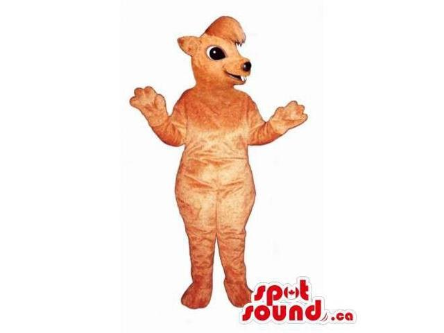 Customised Light Brown Chipmunk Canadian SpotSound Mascot With Peculiar Hair
