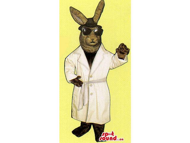 Brown Bunny Canadian SpotSound Mascot Dressed In Secret Agent Sunglasses And Jacket