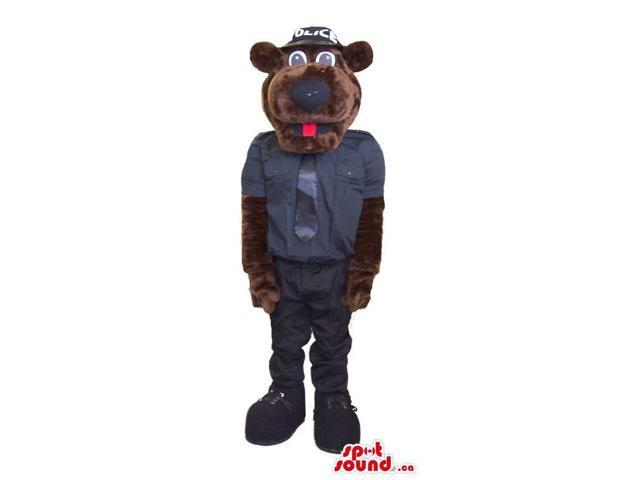 Brown Bear Forest Plush Canadian SpotSound Mascot Dressed In Police Agent Clothes