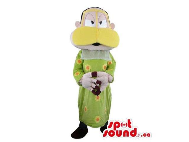 Peculiar Man Plush Canadian SpotSound Mascot Dressed In A Duck Disguise In Green