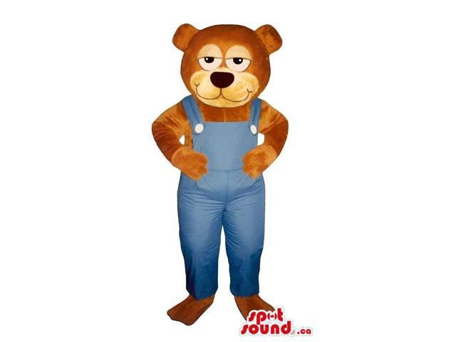 Brown Bear Plush Canadian SpotSound Mascot With Sleepy Eyes, Dressed In Blue Overalls