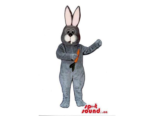 All Grey Bunny Plush Canadian SpotSound Mascot With A Small Carrot And Tooth