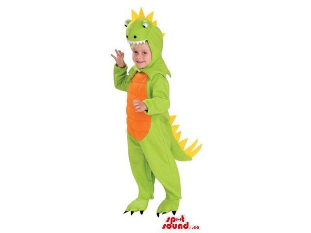 Green Fairy-Tale Dragon Children Size Costume With An Orange Belly