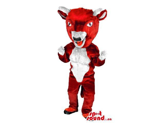 Red Goat Animal Canadian SpotSound Mascot With Horns Bad Red Tongue