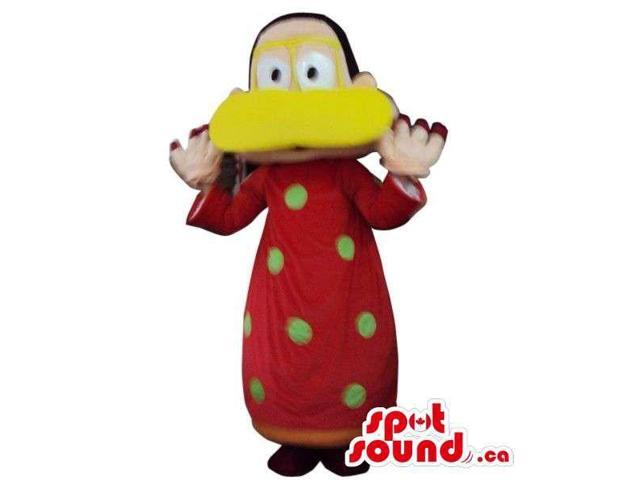 Peculiar Man Plush Canadian SpotSound Mascot Dressed In A Duck Disguise In Brown