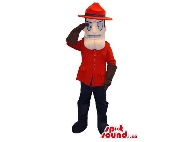 Human Character Canadian SpotSound Mascot Dressed In Guard Clothes And A Hat