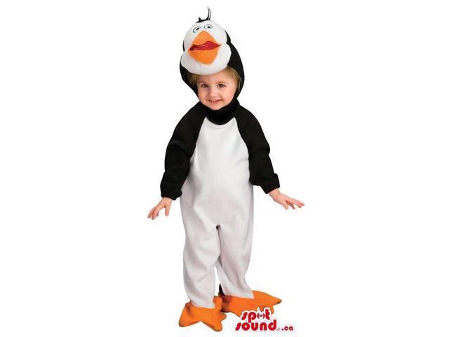 Penguin Animal Children Size Plush Costume With Orange Beak