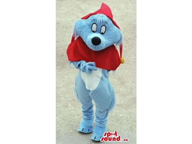 Cute Cartoon Tale Blue Dog Plush Canadian SpotSound Mascot With A Red Hood