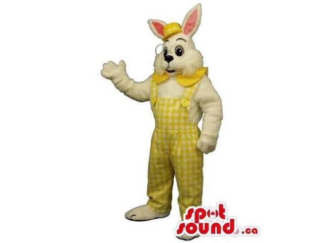 Customised All White Rabbit Canadian SpotSound Mascot Dressed In Glasses