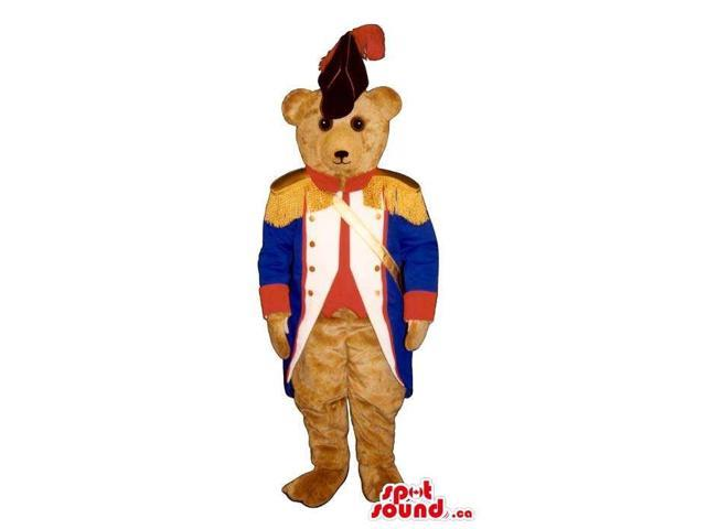Brown Bear Plush Canadian SpotSound Mascot Dressed In Blue And Red Soldier Clothes