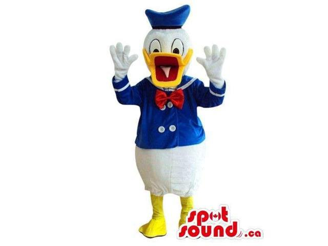 Donald Duck Disney Cartoon Character Plush Canadian SpotSound Mascot With Open Beak