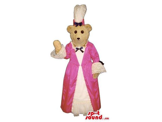 White Lady Bear Plush Canadian SpotSound Mascot Dressed In A Pink Old-Times Dress