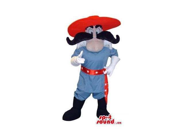 Human Character Canadian SpotSound Mascot Dressed In A Large Red Hat And A Moustache