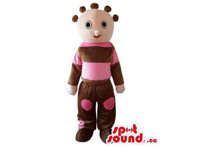 Cosmic Boy Plush Canadian SpotSound Mascot Dressed In Green And Pink Gear