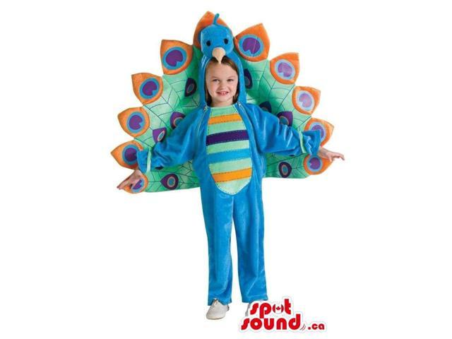 Peacock Children Size Costume With A Colourful Tail
