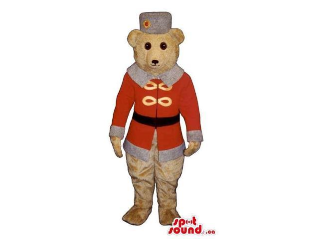 White Bear Plush Canadian SpotSound Mascot Dressed In Red Old-Times Winter Gear