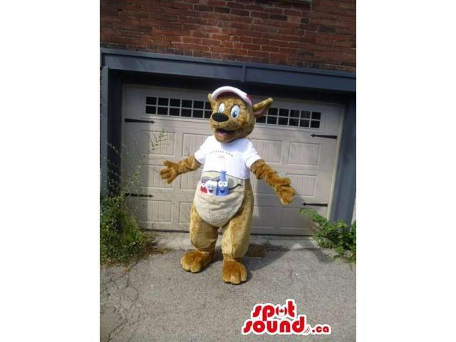 Beige Kangaroo Animal Canadian SpotSound Mascot Dressed In A Cap And A T-Shirt
