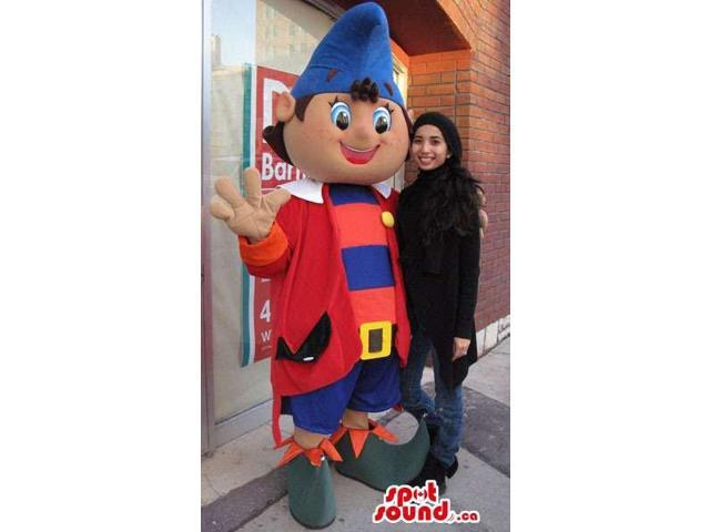 Large Dwarf Canadian SpotSound Mascot In Blue And Red Clothes With Pointy Hat
