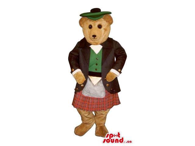 All Brown Bear Plush Canadian SpotSound Mascot Dressed In Scottish Clothes