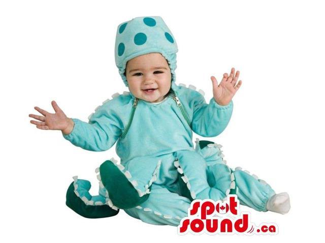Blue Octopus Toddler Size Plush Costume With Many Legs