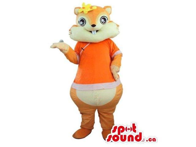 Cute Chipmunk Plush Canadian SpotSound Mascot Dressed In An Orange T-Shirt And Flowers