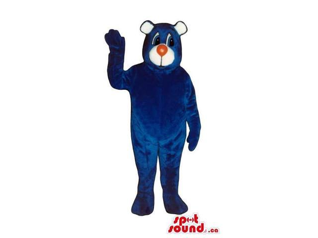 Cute All Blue Bear Plush Canadian SpotSound Mascot With A White Face And Red Nose