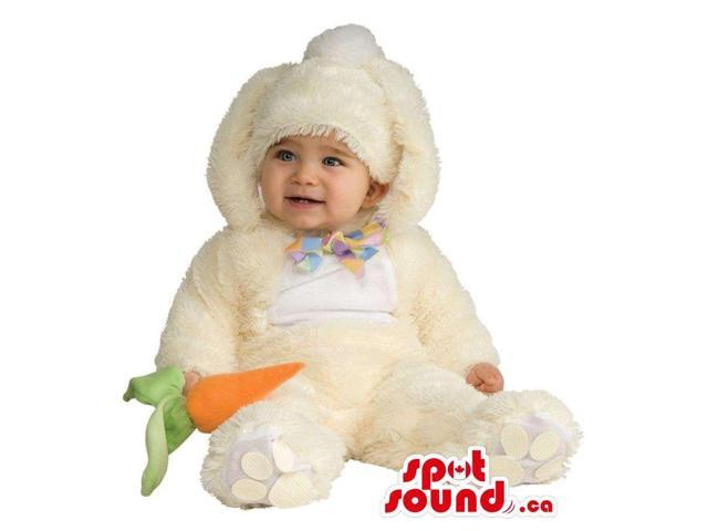 Soft White Bunny Toddler Size Plush Costume With A Carrot