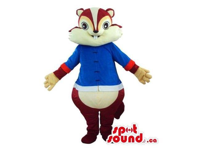 Angry Brown Chipmunk Plush Canadian SpotSound Mascot Dressed In A Blue Shirt
