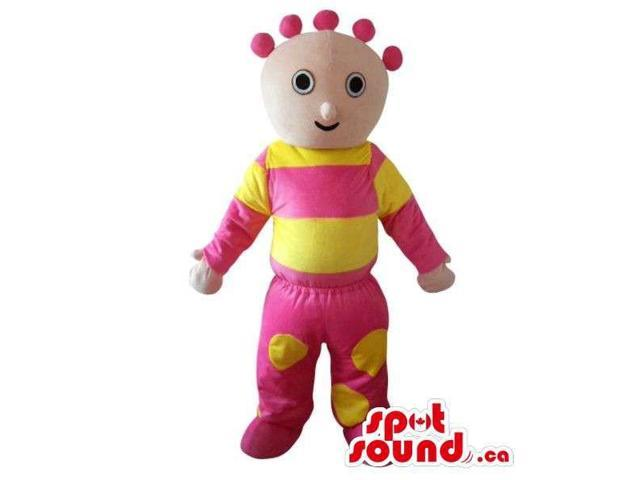 Cosmic Boy Plush Canadian SpotSound Mascot Dressed In Yellow And Pink Gear