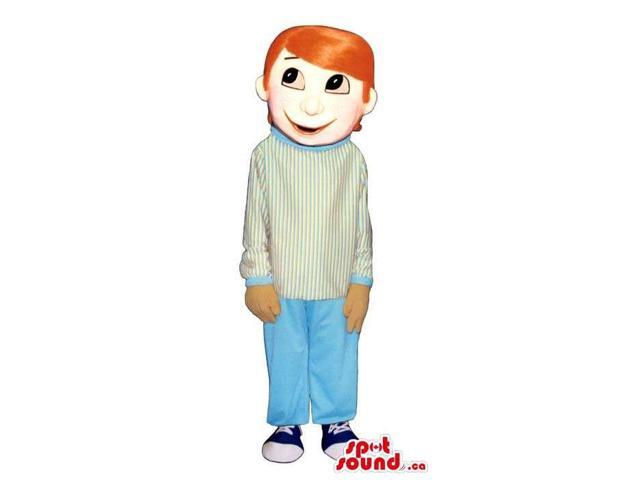 Boy Plush Canadian SpotSound Mascot With Orange Straight Hair In A White Customised Top
