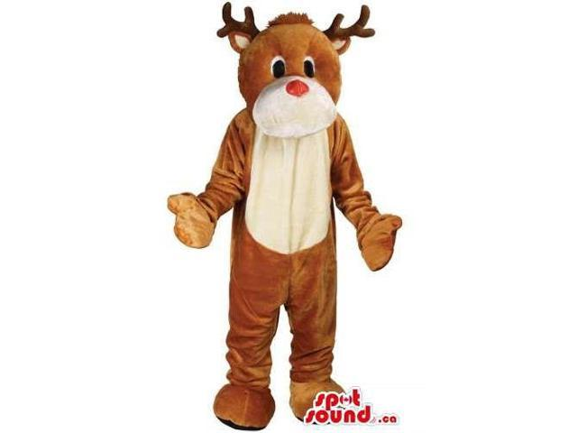 Cute Brown Reindeer Animal Canadian SpotSound Mascot With Red Nose And Beige Belly