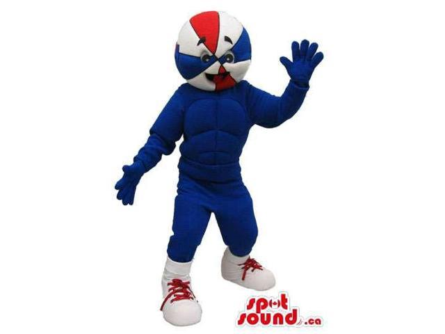 Walking Basketball Character Canadian SpotSound Mascot In Blue And Red Colors