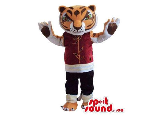 Angry Tiger Plush Canadian SpotSound Mascot Dressed In A Red Customised Top