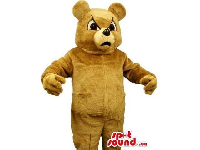 All Brown Teddy Bear Plush Canadian SpotSound Mascot With An Angry Face