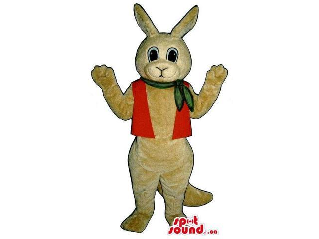 Beige Rabbit Plush Canadian SpotSound Mascot Dressed In A Red Vest And Neck Scarf