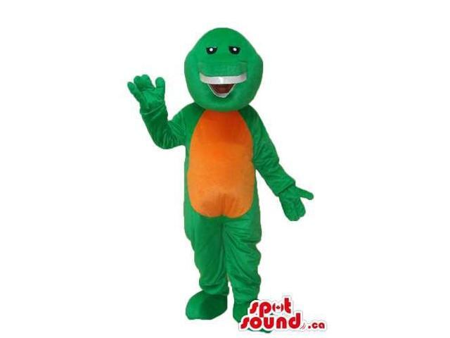 Cute Green Dinosaur Plush Canadian SpotSound Mascot With A Brown Belly