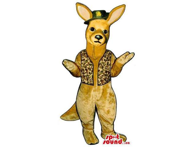 Beige Kangaroo Plush Canadian SpotSound Mascot Dressed In A Green Hat And A Vest