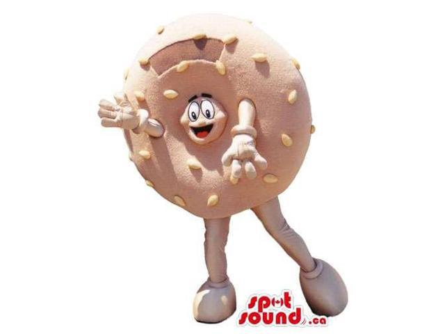 Bagel Or Doughnut Food Canadian SpotSound Mascot With Peculiar Face Inside It Hole