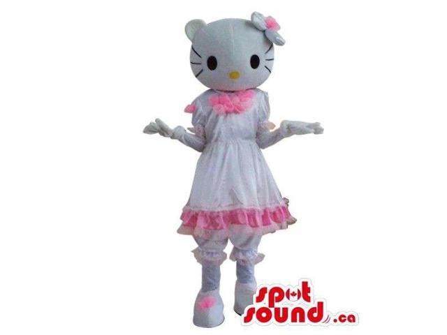 Kitty Character Plush Canadian SpotSound Mascot With A Shinny White Dress
