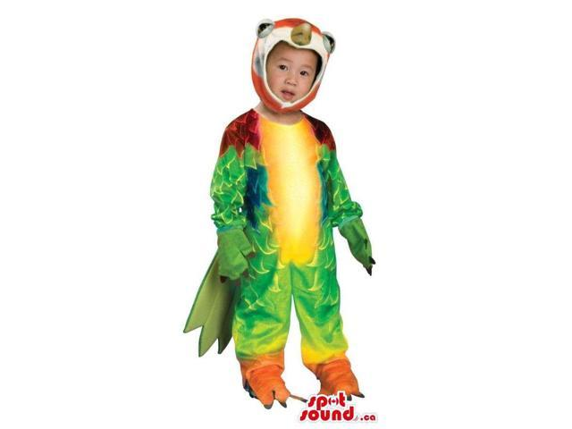 Exotic Green Parrot Toddler Size Plush Costume With Colourful Wings