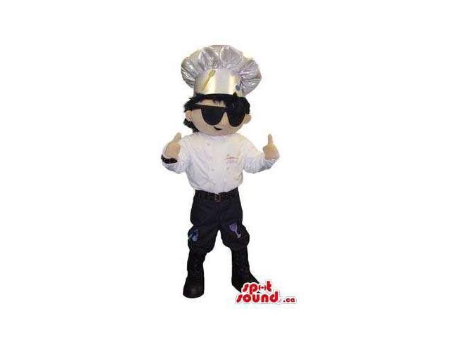 Cool Chef Or Cook Human Character Canadian SpotSound Mascot Dressed In Sunglasses